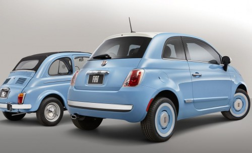 1957 fiat 500n and 2014 fiat 500 1957 edition