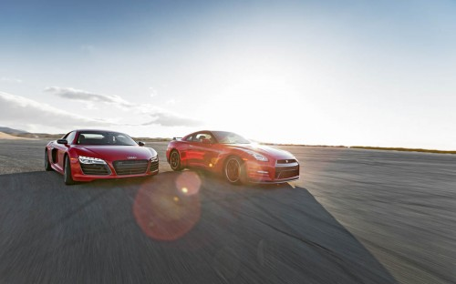 2014-Audi R8 V10 Plus and Nissan GT-R Track Pack