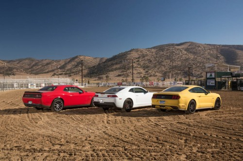 2015-chevrolet-camaro-ss-dodge-challenger-rt-scat-pack-ford-mustang-gt-rear-three-quarters
