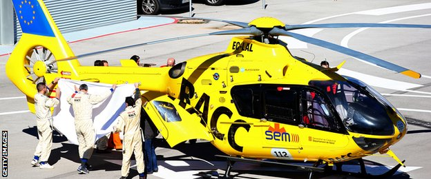 Alonso was airlifted to hospital after being treated at the circuit's medical centre