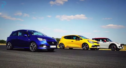 Drag Race Between Renault Clio RS, Opel Corsa OPC And MINI JCW