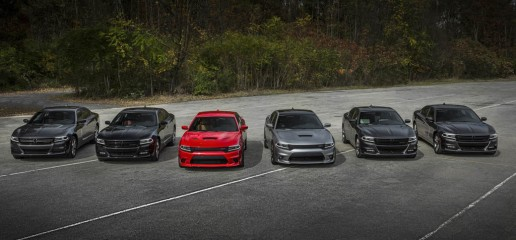 2015 Dodge Charger model lineup.  From left to right: 2015 Dodge