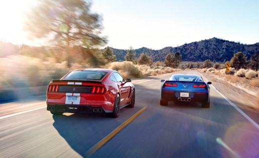 2016 Ford Mustang Shelby GT350 and 2016 Chevrolet Corvette Stingray coupe Z51