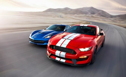 2016 Chevrolet Corvette Stingray coupe Z51 and 2016 Ford Mustang Shelby GT350