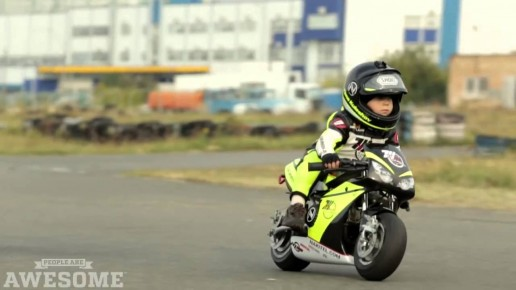 Two year old motorcycle racer