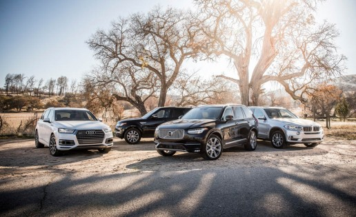 Volvo XC90 T6 , BMW X5 xDrive35i, Land Rover Range Rover Sport HSE, and Audi Q7