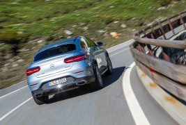 2017-Mercedes-Benz-GLC300-Coupe-rear-three-quarter-in-motion-04