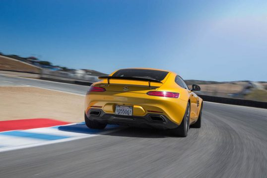 2016-Mercedes-AMG-GT-S-rear-three-quarter-in-motion
