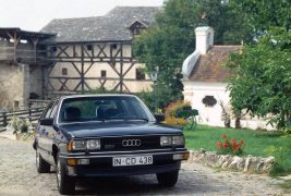 1980: five-cylinder gasoline engine with turbocharger:In 1980, the Audi 200 5T (C2) comes on to the market, which is powered by the first turbocharged gasoline engine from the brand with the four rings. From a displacement of 2,144 cc, the five-cylinder unit produces 125 kW (170 hp) at 5,300 revolutions per minute and 265 newton meters (195.45 lb-ft) of torque at 3,300 rpm. The Audi 200 5T (C2) is the first Audi in the luxury class and features the lavish equipment of the Audi 100 CD as standard.