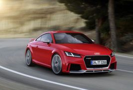 2016: 2.5 TFSI with gasoline direct injection, turbocharger and intercooler:At the Beijing Motor Show in 2016, Audi presents the new TT RS Coupe* and the new TT RS Roadster*. The five-cylinder unit has been enhanced in every area – with lightweight construction measures, reduced internal friction, increased power delivery. From an unchanged displacement of 2,480 cc, the turbocharged engine gains a good 17 percent increase in performance. With an output of 294 kW (400 hp) it is more potent than ever before. The maximum torque of 480 newton meters (354.03 lb-ft) is available between 1,700 and 5,850 revolutions per minute. It ensures outstanding pulling power, which accompanies the unmistakable five-cylinder sound.