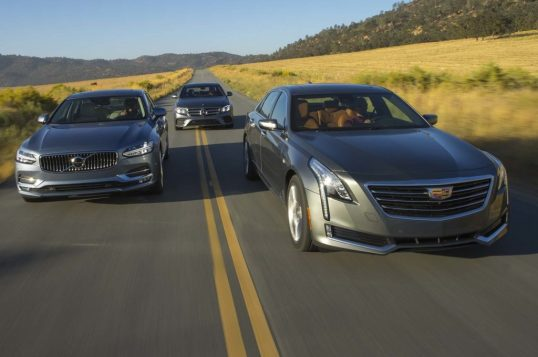 cadillac-ct6-vs-mercedes-benz-e300-vs-volvo-s90-t6-front-end-in-motion-06-e1479501999432