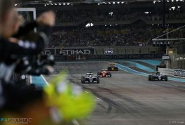Race winner Lewis Hamilton (GBR) Mercedes AMG F1 W07 Hybrid crosses the finish line at the end of the race with second placed World Champion Nico Rosberg (GER) Mercedes AMG F1 W07 Hybrid. 27.11.2016. Formula 1 World Championship, Rd 21, Abu Dhabi Grand Prix, Yas Marina Circuit, Abu Dhabi, Race Day. - www.xpbimages.com, EMail: requests@xpbimages.com - copy of publication required for printed pictures. Every used picture is fee-liable. © Copyright: Moy / XPB Images