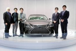 The EyesOn Design Award for Design Excellence - Best Designed Interior went to the 2018 model-year Lexus LS sedan at the North American International Auto Show on Tuesday, January 10, 2017 in Detroit, MI.(L-R) Yo Hiruta, Lexus Design Div. General Manager, Kouichi Suga, Project General Manager - Lexus Design Div., Kei Yamamoto, Lexus Design div. Group Manager, Toshio Asahi, Product Planning - Chief Engineer, Kenji Ohtsuka, Lexus Int.Co. Product Planning, Project Manager