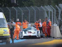 Audi R-18 e-tron quattro crash at Le Mans
