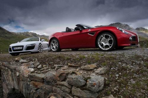 Audi R8 Spyder V8 and Alfa Romeo 8C Spider