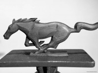 Waino Kangas' final wooden sculpture of the production grille pony.