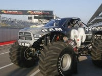 RAMINATOR driver Mark Hall prepares to attempt setting a new GUINNESS WORLD RECORDSآ® record for Fastest Speed for a Monster Truck at Circuit of the Americas Speedway, on Monday, Dec. 15, 2014 in Austin, Texas. Hall reached a speed of 99.1 mph to break the 2012 record of 96.8 mph. (Photo by Jack Plunkett/Invision for Ram Truck brand, Chrysler Fiat Automobiles/AP Images)