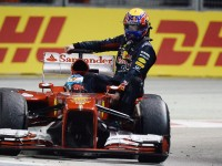 Webber hitches a ride home after his RB9 caught fire