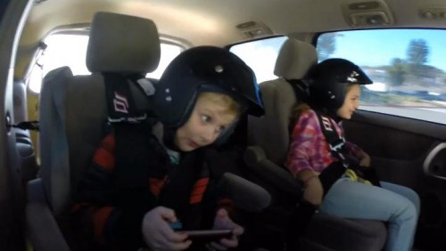 Mom and Kids Drifting in a Minivan
