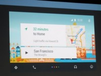 A presenter demonstrates Android Auto