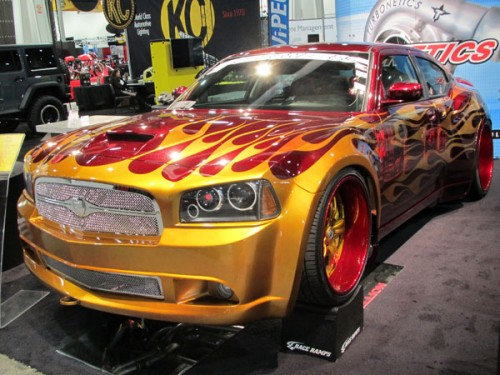 Dodge Charger with Candy Apple Red & Gold flames